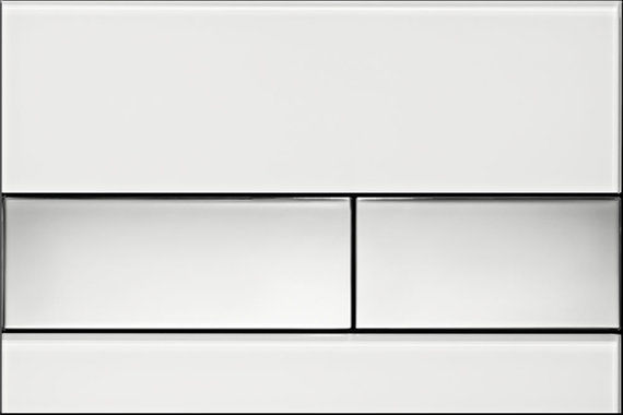 Square White Glass with Chrome Button
