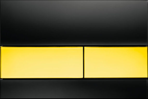 Square Black Glass with Gold Button