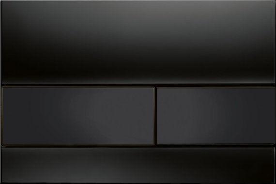 Square Black Glass with Black Button